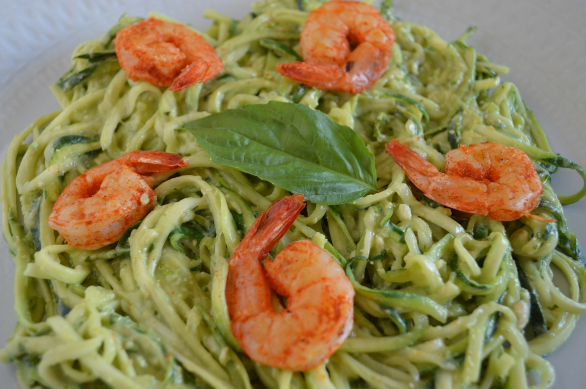 Creamy Avocado Zoodles with Chipotle Shrimp